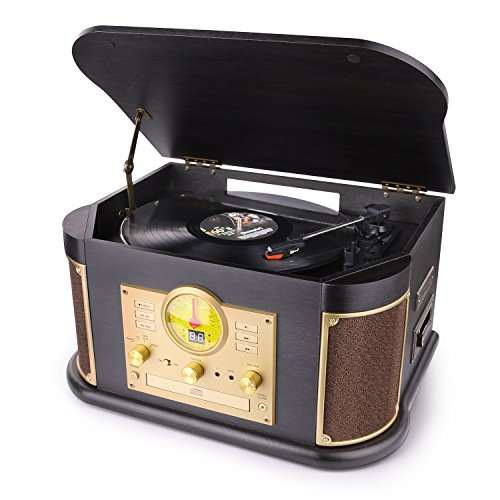 - D&L Vintage Record Player, Wooden Turntable, 7-in-1 Bluetooth Phonograph with Built-in Stereo Speakers, CD/Cassette Player, FM Radio, USB/SD Play & Encoding,Turntable for Vinyl Records