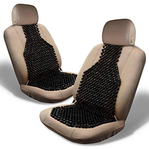 - Zone Tech Set of 2 Classic Black Premium Quality Double Strung Wooden Beaded Ultra Comfort Massaging Car Seat Cushion