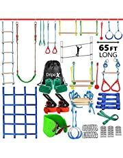 Ninja Warrior Obstacle Course for Kids - Dripex 65FT Double Ninja Slackline with Most Complete Accessories for Kids, Swing, Trapeze Swing, Rope Ladder, Obstacle Net Plus 1.2M Arm Trainer