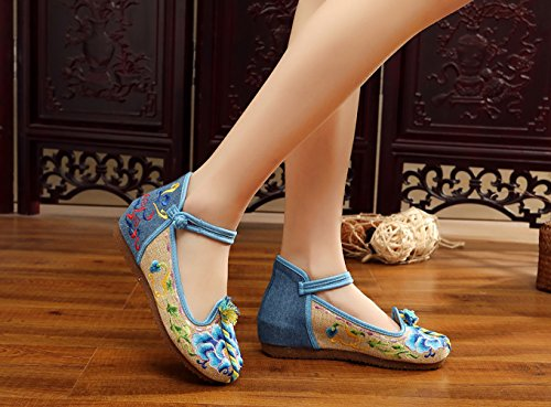 Plat Fleur 37 Bleu Ballerine avec Mary Fait Main Janes Broderie Chaussures Icegrey Femme Gateau xRwzqCR