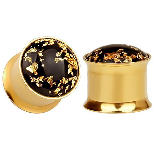 - KUBOOZ(1 Pair Simple Golden Gold-foil Ear Plugs Tunnels Gauges Stretcher Piercings 5/8