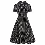 vintage 40s dress - Samtree Women's Vintage 40s 50s Style Short Sleeve Polo Neck Plaid Swing Dress(XXL(14),Black Polka Dots)