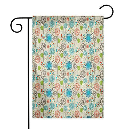 duommhome Floral Garden Flag Retro Doodle Stylish Flower Field Dandelions Daisy Birds Circles Cheerful Image Decorative Flags for Garden Yard Lawn W12 x L18 Multicolor -