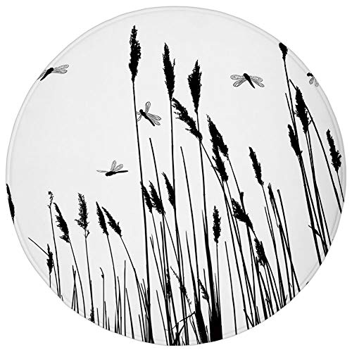 Autumn Wheat Rug - Round Rug Mat Carpet,Dragonfly,Wheat Field Autumn Agriculture Background Nature Harvest Bush Herbs Theme Art Decorative,Black White,Flannel Microfiber Non-slip Soft Absorbent,for Kitchen Floor Bathroo