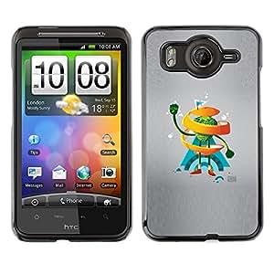 Caucho caso de Shell duro de la cubierta de accesorios de protección BY RAYDREAMMM - HTC G10 - Naranja del remolino de Hombre