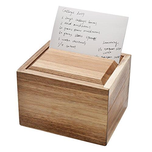 WELLAND Acacia Wood Recipe Box with Card Divider, Recipe Card Set (4x6 Wood Recipe Box compare prices)