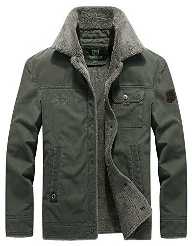 Jacket Jacket Winter Military Warm Windproof ArmyGreen Multi FUNFOA Pocket Slim Casual Style Lining Men's 5XfS5q7w