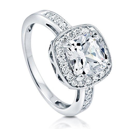 (BERRICLE Rhodium Plated Sterling Silver Cushion Cut Cubic Zirconia CZ Halo Engagement Ring Size 6)