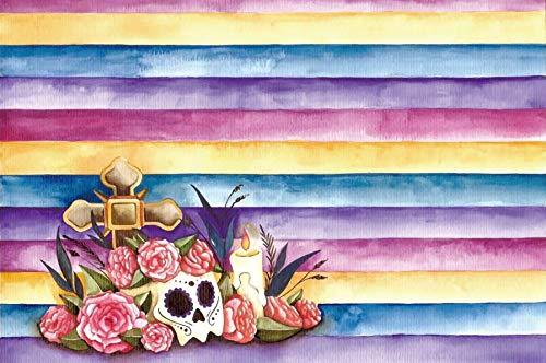 (Leyiyi 9x6ft Day of The Dead Backdrop Día de Muertos Skull Head Bone Sombrero Hat Striped Banner Grunge Wooden Board Photography Background Mexican Holiday Carniva Photo Studio Prop Vinyl Wallpaper)