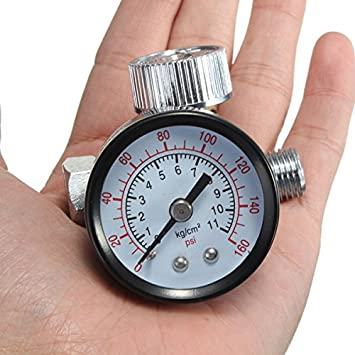 Yongse 1/4inch ajustable Mini Regulador de aire Presión Reloj de comparación HVLP spray Herramientas pistola de aire: Amazon.es: Bricolaje y herramientas