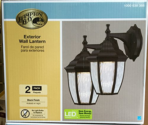 Hampton Bay Outdoor Wall Lanterns with Integrated LED Bulbs 2-Pack -