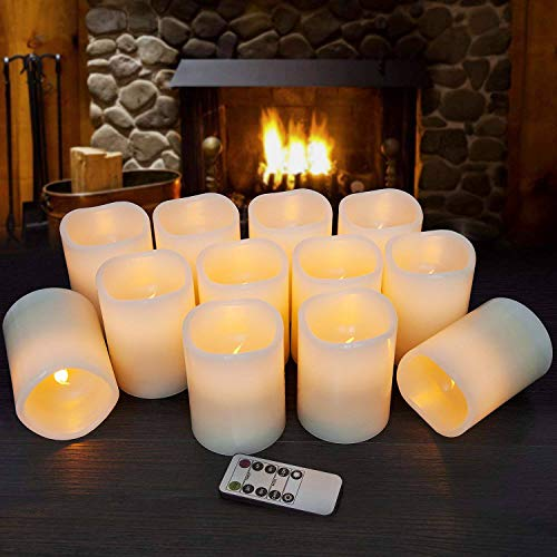 Hausware Flameless Candles LED Candles Set of 12 (D:3'' X H:4'') Battery Operated Candles Flickering Bulb Pillar Ivory Real Wax Electric Candles with Remote and Timer for Home Decoration … by Hausware (Image #3)