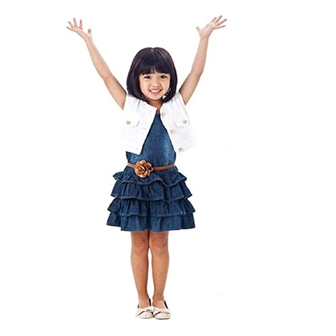 Malloom® Venta caliente 2pc trajes muchachas niñas chaleco Jeans vestido + Chaqueta (120)