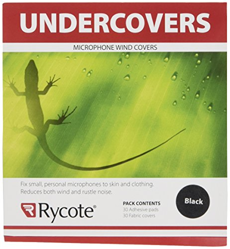 Rycote 065101 Undercover with Stickies and 30 Fabric Discs for Lavalier Microphones, 30 Uses, Black - Disc Pop