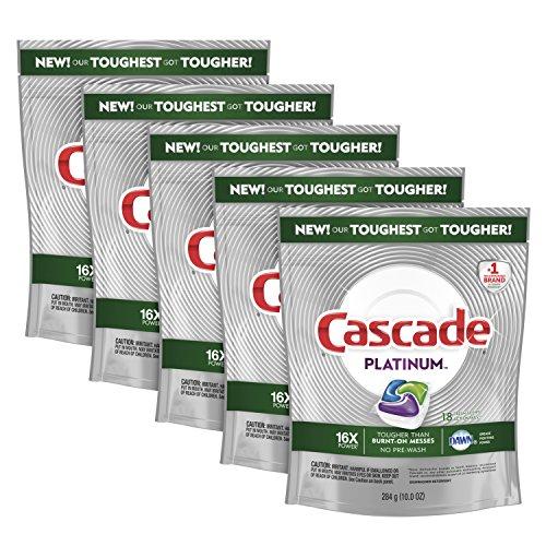 Cascade Platinum ActionPacs Dishwasher Detergent, Fresh Scent, 90 ct, Tub Refill Bags (Premium Pack Tub)