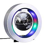 YTOM Magnetic Levitation Floating Globe Lamp, 4'' Rotating Anti Gravity Levitating World Globes with 8 LED Lights/100-240VAC/DC 12V, Educational Gifts for Kids, Home Office Desk Decoration (4' Black)