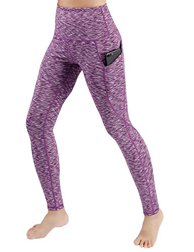 ODODOS High Waist Out Pocket Yoga Pants Tummy Control Workout Running 4 Way Stretch Yoga Leggings,SpaceDyePurple,Medium