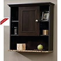 Bathroom Vanity Cabinet Storage Organizer With Shelf Wall Hanging Wood Brown Furniture & eBook By Easy&FunDeals