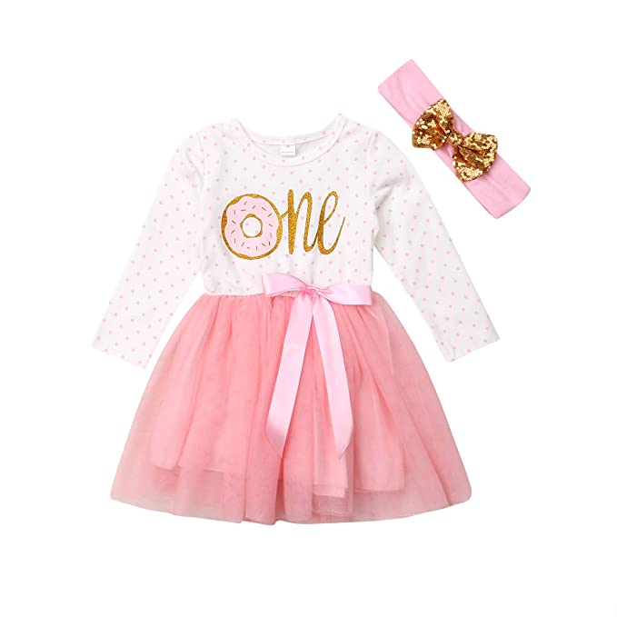 b81152ebff Newborn Baby Girls Pink Striped Tutu Dress First Birthday Skirt Outfits  Casual Donut Print Girls Clothes