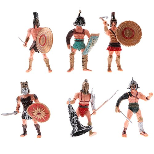 6pcs Action Figure Ancient Roman Gladiator Toy Warrior Fighter Figures Playsets with Weapon or Shield
