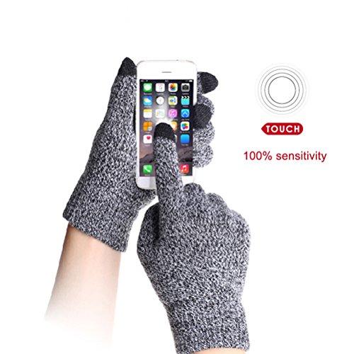 Touch Screen Gloves Unisex Wool Warm gloves ( Grey) - 3