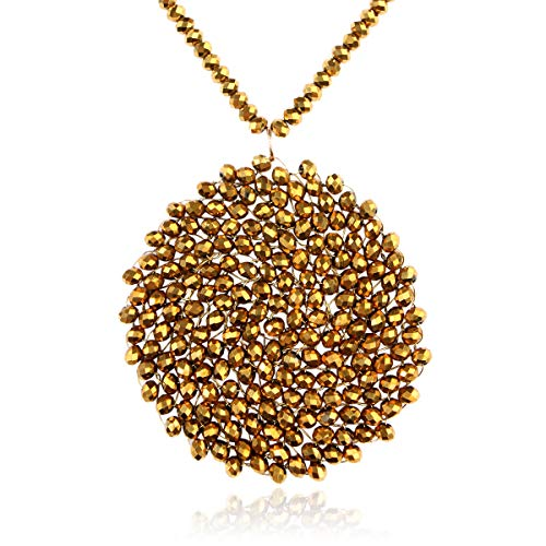 RIAH FASHION Bohemian Beaded Pendant Long Statement Necklace - Sparkly Crystal Bead Boho Braided Disc Wired Round Circle, Teardrop, Natural Stone, Tassel (Round - Gold)