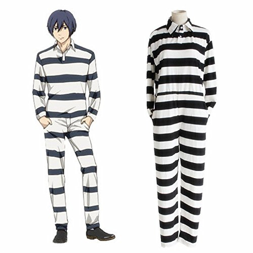 Horries Prison Uniform Stripe Jumpsuits Onesies Anime Prison School Cosplay Costume