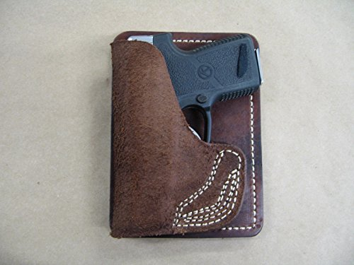 Colt Mustang 380 Inside the Pocket Leather Concealment Handgun WALLET Holster CCW RH BROWN