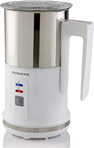 OVENTE 3 in 1 Electric Milk Frother Stainless Steel Carafe (4 oz/ 8 oz) Two Whisk Methods, Non-Stick Interior, Steamer for Coffee, Latte, Cappuccino, Hot Chocolate, and More, White (FR1208W)