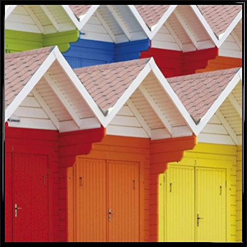Huts Poster Art Print and Frame (Plastic) - Colourful Beach Huts in Scarborough, UK (16 x 16 ()