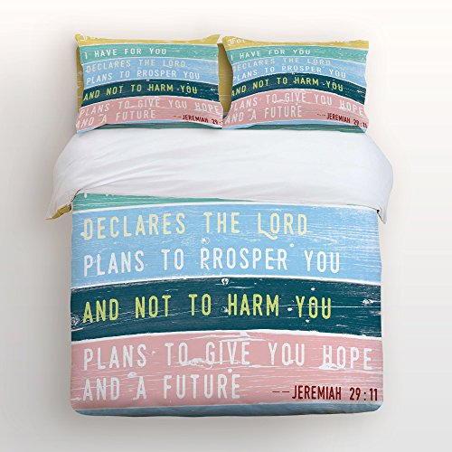 Price comparison product image Vandarllin Bible Quote 4 Piece Bedding Sets Queen Size,Jeremiah 2911 Printed Duvet Cover Set Decorative Bedspread For Kids/Childrens/Teens/Adults,