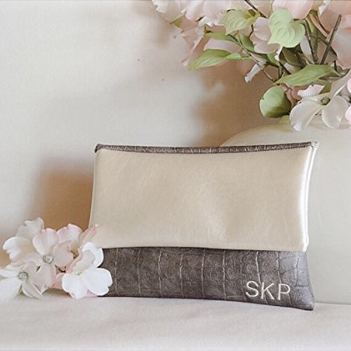 Grey pewter snakeskin monogram clutch bridesmaid purse