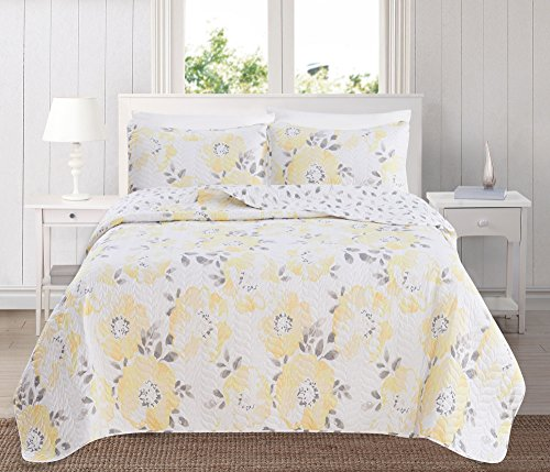 Great Bay Home 3-Piece Reversible Quilt Set with Shams. All-Season Bedspread with Floral Printed Pattern in Bright Colors. Helene Collection Brand. (King, Yellow)