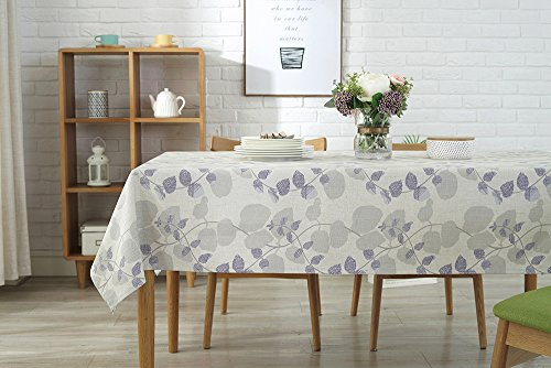 (Wintop Cotton Linen Fabric Tablecloth Macrame Trim Waterproof Table Cover for Kitchen Dinning Tabletop Decoration, 55