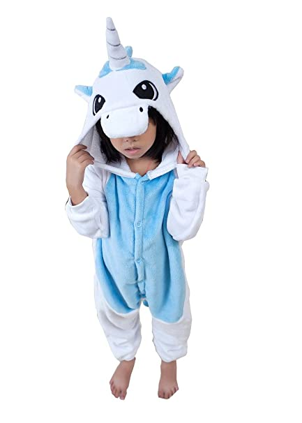 Triseaman Los ni?os Homewear Sleepsuit Animal Pijamas Cosplay Unicornio Azul XXL