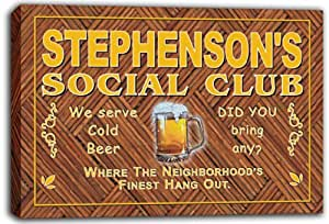 scpz1-1643 STEPHENSON'S Social Club Bar Pub Club Beer Stretched Canvas Print Sign