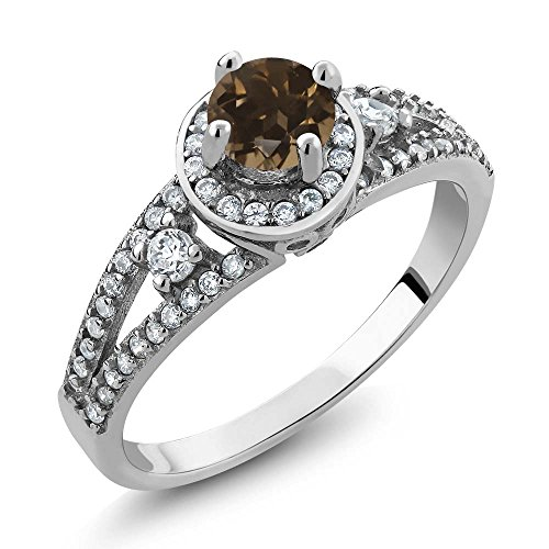Gem Stone King 1.40 Ct Round Brown Smoky Quartz 925 Sterling Silver Ring