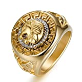 Ztuo Hip Hop Jewelry Titanium Steel Metal Gothic Lion Head Rings Cool Biker Bands For Men Boy Gold Size 7
