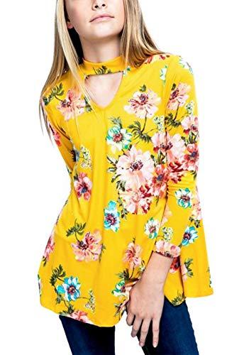 GOSOPIN Girls Floral Long Sleeve Swing Blouse Cute Sweatshirt Tops 4-13Y Medium - Pullover Long Sleeve Girls