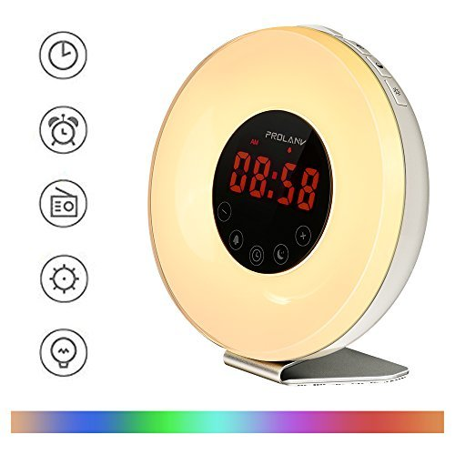 Alarm Clock with Sunrise Simulation Wake Up Light and Night Light FM Radio 6 Nature Sounds 7 Color USB Charger Touch Control for Heavy Sleepers by ANTECO