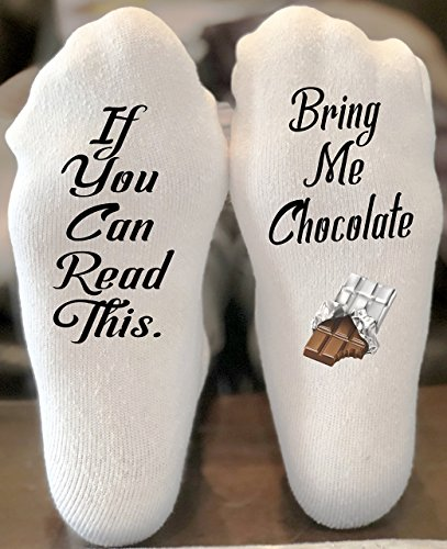 (If You Can Read This Bring Me Chocolate Funny Novelty Funky Crew Socks Men Women Christmas Gifts Slipper Socks Chocolate Lover Gift)