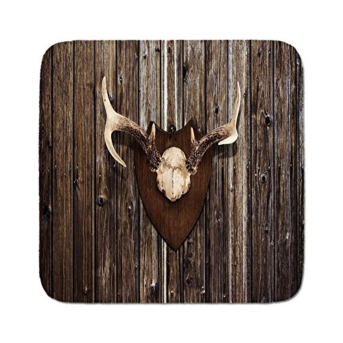 Cozy Seat Protector Pads Cushion Area Rug,Antler Decor,Rustic Home Cottage Cabin Wall with Antlers Hunting Lodge Country House Trophy Decorative,Brown,Easy to Use on Any Surface