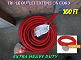 10 Gauge Triple Tap Extension Cord With Lighted Ends Century Contractor Grade 100' 10 Gauge Power Extension Cord 10/3 Plug Heavy Duty Indoor Outdoor Triple Outlet (100 ft 10 AWG 100% Copper, red)