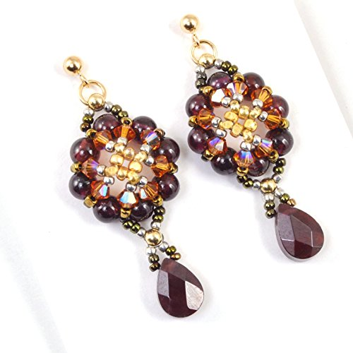 Natural Garnet Earrings, Artisan Crafted in 14K Gold Filled