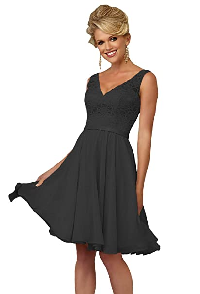Yorformals Womens V Neck Knee Length Bridesmaid Dress Short Formal