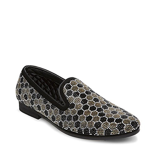 Steve Madden Men's Caspian Loafer, Black/Gold, 8 M US by Steve Madden