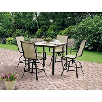 5 Piece High Patio Furniture Dining Set, Square Tiles Balcony Bar Table U0026 4