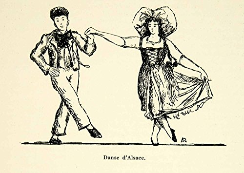 [1932 Lithograph Alsace Dance Folk Traditional Dancers Costume Dress France AEC3 - Original In-Text Lithograph] (Alsace Traditional Costume)