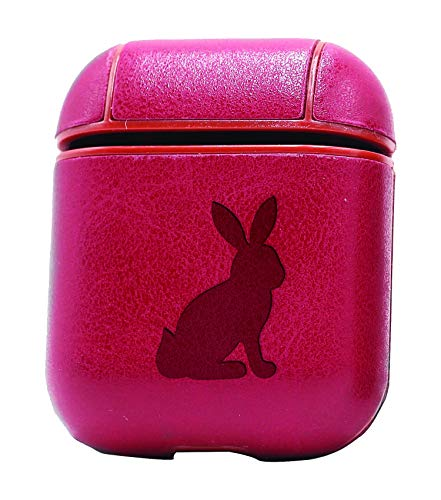 Sitting Bunny Silhouette (Vintage Pink) Air Pods Protective Leather Case Cover - a New Class of Luxury to Your AirPods - Premium PU Leather and Handmade exquisitely by Master Craftsmen