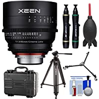 Rokinon Xeen 50mm T/1.5 Pro Cine Lens (for Video DSLR Cinema Canon EF Cameras) with Waterproof Hard Case + Tripod + Dolly + Kit